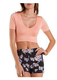 Short Sleeve Curved Hem Crop Top