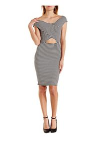Striped Cut-Out Bodycon Midi Dress