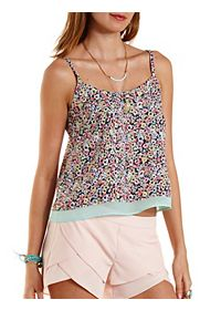 Cross-Back Floral Print Tank Top