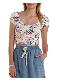 Strappy Deep Scoop Floral Crop Top