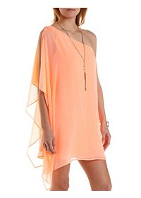 One Shoulder Chiffon Shift Dress