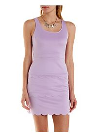 Scalloped Open Back Bodycon Dress