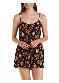 Strappy Button-Up Floral Romper
