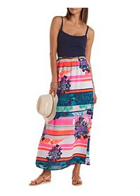 Tropical-Striped & Belted Maxi Dress