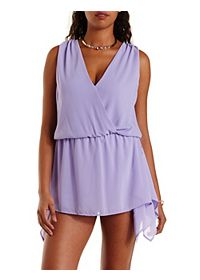 Handkerchief Overlay Sleeveless Wrap Romper