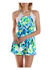 Strappy-Back Lace-Trim Floral Romper