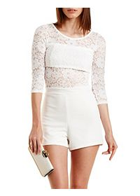 Floral Lace Cut-Out Romper