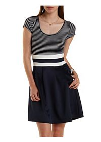 Striped Color Block Skater Dress