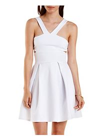 V-Strap Cut-Out Skater Dress