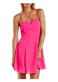 Strappy Chiffon Skater Dress