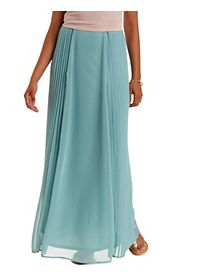 Side-Pleated Chiffon Maxi Skirt