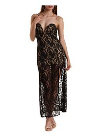 Plunging Sweetheart Lace Maxi Dress