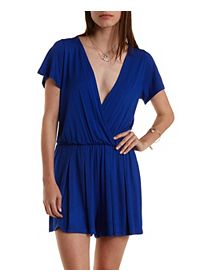 Pleated Short Sleeve Wrap Romper