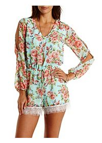 Cold Shoulder Floral Chiffon Romper