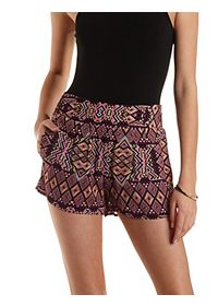 Geometric Print High-Waisted Shorts