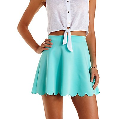 Laser-Cut Scalloped Skater Skirt