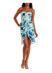 Abstract Print High-Low Strapless Dress