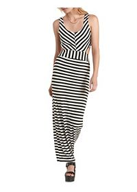 Striped Cut-Out Maxi Dress