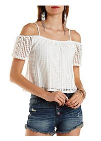 Geo Crochet Cold Shoulder Crop Top