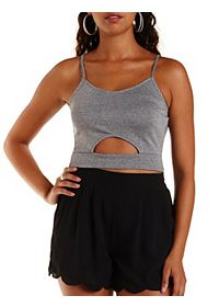 Ribbed & Marled Cut-Out Crop Top
