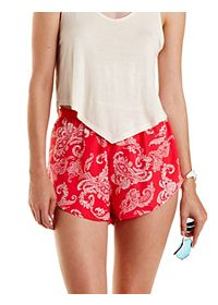 High-Waisted Paisley Dolphin Shorts