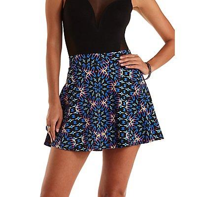 Kaleidoscope Print Skater Skirt