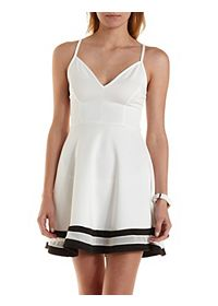 Mesh Striped Sweetheart Skater Dress