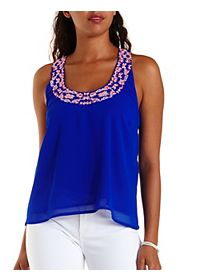 Embroidered Crepe Racerback Tank Top