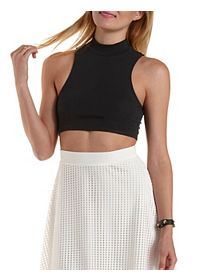 Sleeveless Mock Neck Crop Top