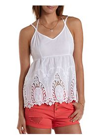 Embroidered Strappy Babydoll Halter Top