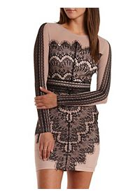 Long Sleeve Bodycon Scalloped Lace Dress