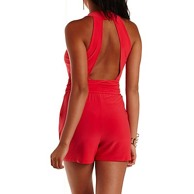 Ruched Crossover Romper