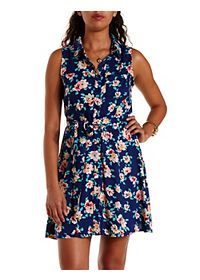 Floral Print Sleeveless Shirt Dress