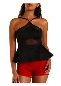 Crossover Mesh Cut-Out Peplum Top