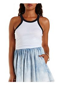 Cropped Racer Front Ringer Tank Top
