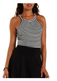 Striped Racer Front Cropped Tank Top