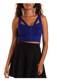 Hook-and-Eye Caged Bustier Top