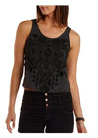 Velvet-Flocked Tie-Back Tank Top
