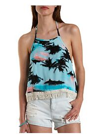 Palm Tree Print Backless Halter Top