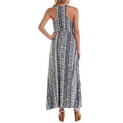 Racer Front Floral Striped Maxi Dress