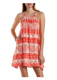 Paisley Print Trapeze Halter Dress