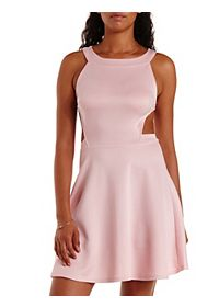 Cut-Out Racer Front Skater Dress