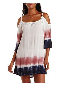 Tie-Dye Cold Shoulder Shift Dress
