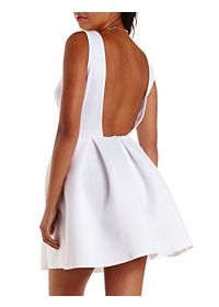 Backless Pleated Skater Dress
