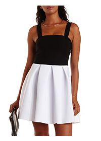 Pleated Color Block Skater Dress