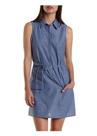 Sleeveless Button-Up Chambray Shift Dress