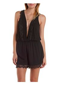 Lace-Trim Plunging Surplice Romper