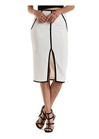 Contrast- Piped Bodycon Midi Skirt