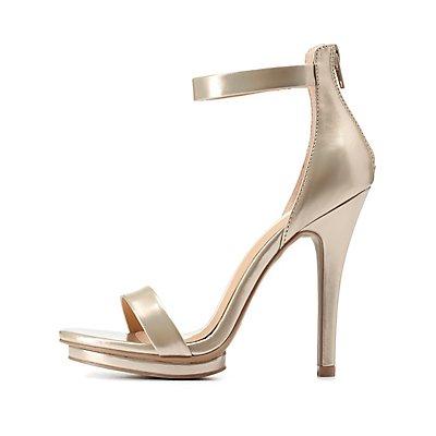 Metallic Single Strap Mini-Platform Heels