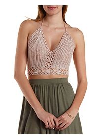 Cropped Macrame Halter Top